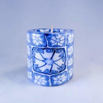 Mini pillar Blue patterned candle