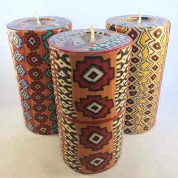 Large pillar candles with ethnic designs