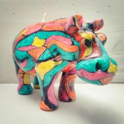 Colourfull hippo candle