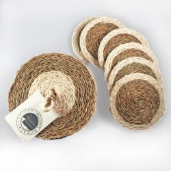 woven coaster gift set with white trim