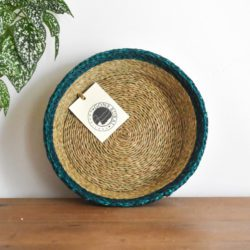 Woven bread basket with green trim