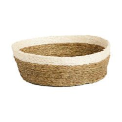 ethical woven grass basket with white trim