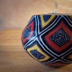 pot candle with mud cloth design