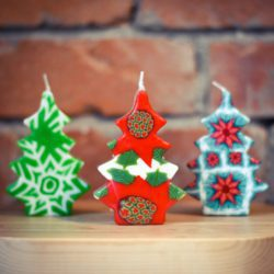 three xmas tree candles