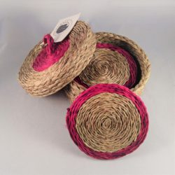 Woven coaster gift set with red trim