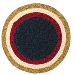 Woven placemat with concentric plum white and indigo design