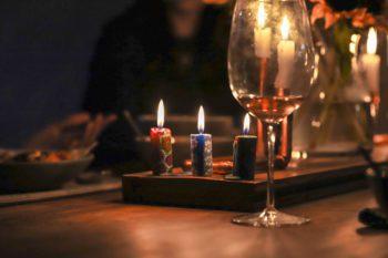 Colourful lit mini candles