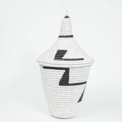 traditional white rwandan basket with black zig zags