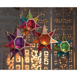 colourful hanging star tea light holders