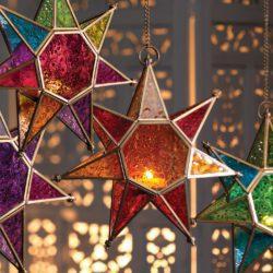 Colourful star tea light holders