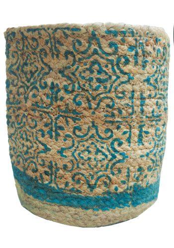 teal block printed jute plant basket