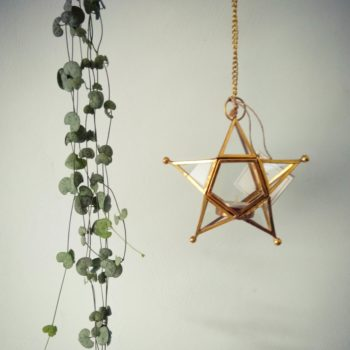 Star shaped hanging tea light holder