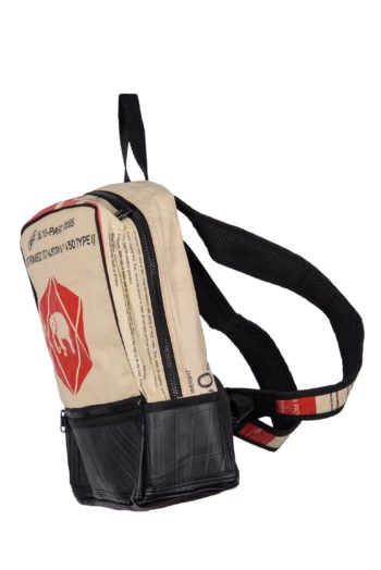 recycled cement bag backpack