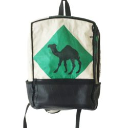 Back pack made from recycled cement bag with green camel design