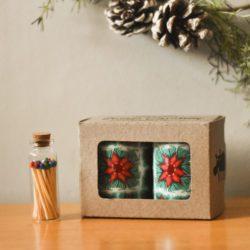 mini pillars in presentation box with matches