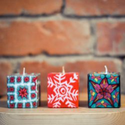 3 ethical mini cube candles