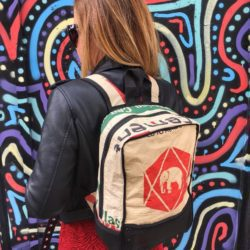 Lady wearing recycled backpack