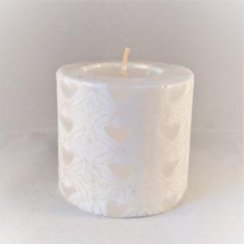 White heart mini pillar candle
