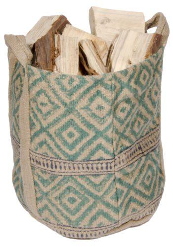 Block print wood store bag