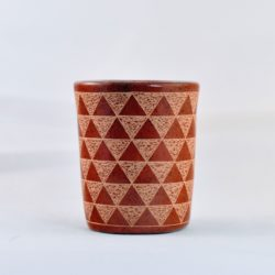 Red traingle patterned Mini Ceramic Vessel