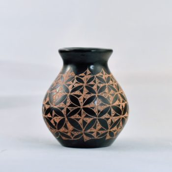 Black patterned Mini Ceramic Vessel