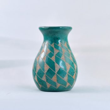 Teal patterned Mini Ceramic Vessel