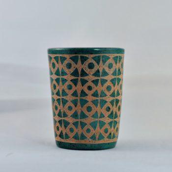 Dark green patterned Mini Ceramic Vessel