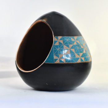 Cream and turquoise patterned salt cellar