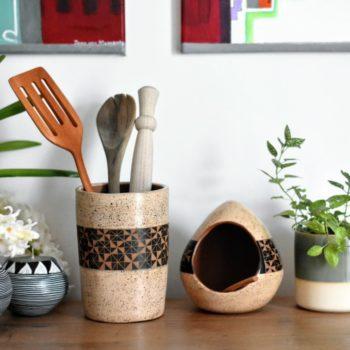 Cream Salt cellar and utensil pot set
