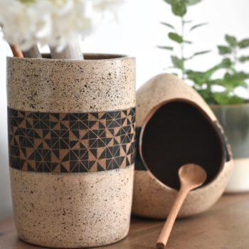 fair trade salt cellar and utensil holder set in cream and black