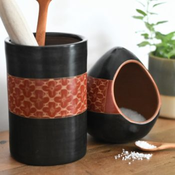 Fair trade Ceramic salt cellar and utensil pot