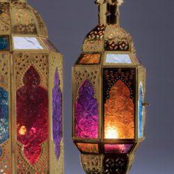 )gold hanging finish multi-coloured glass lantern