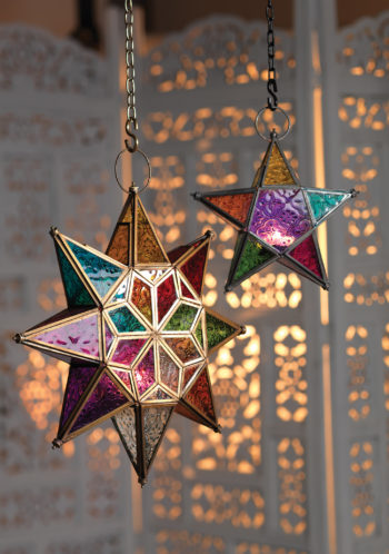 Large and small colourful Moroccan glass star lantern