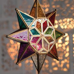 Large colourful Moroccan glass star lantern