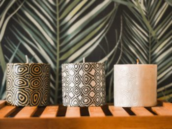 Fairtrade candles with swirl pattern