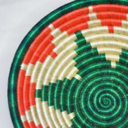 Close up green and orange pattern bowl