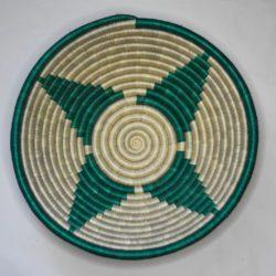 green patterned basket