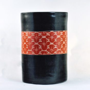 fair trade ceramic utensil holder - black with red flower pattern