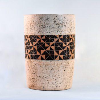 fair trade ceramic utensil holder in flecked cream and black