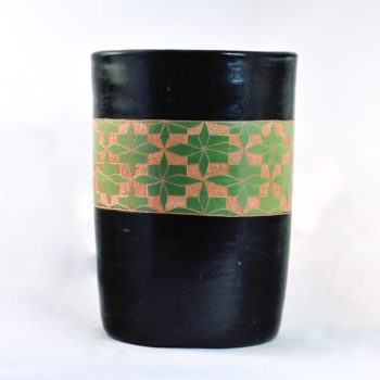 fair trade ceramic utensil holder - black with green pattern