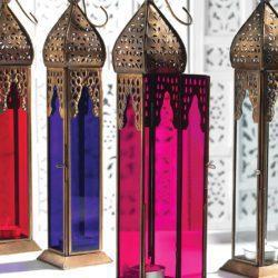 Tall Moroccan Style Glass Lantern