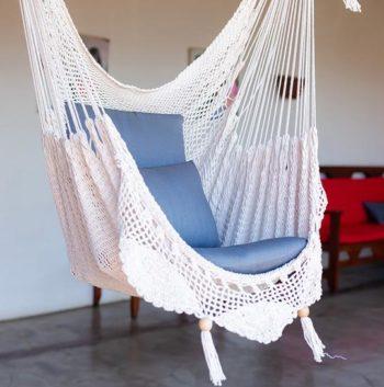 white Handwoven fair trade hammock