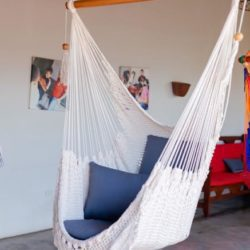 side view of white handwoven hammock