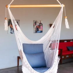 front view of white handwoven hammock